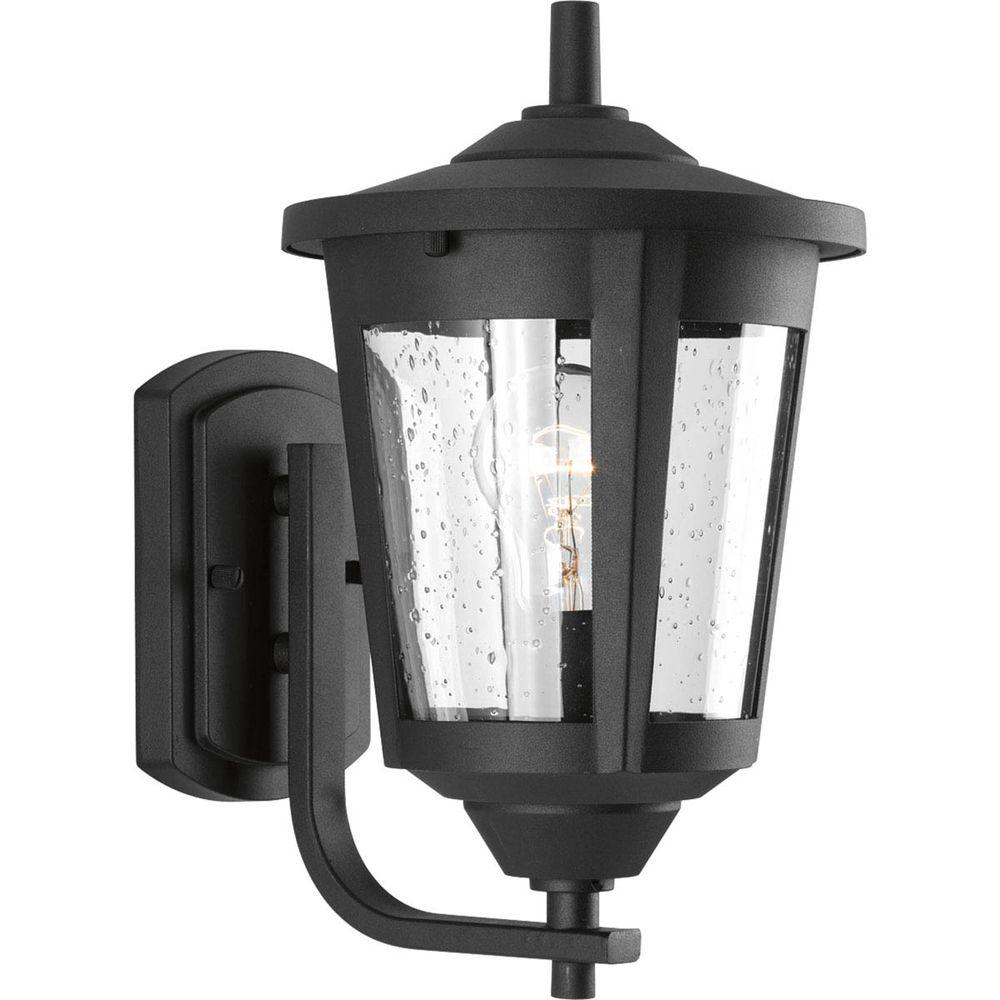 Progress Lighting East Haven Collection 1-Light Black 12.75 in. Outdoor Wall Lantern Sconce
