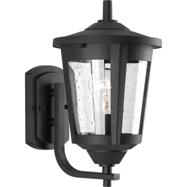 East Haven Collection 1-Light Black 12.75 in. Outdoor Wall Lantern Sconce