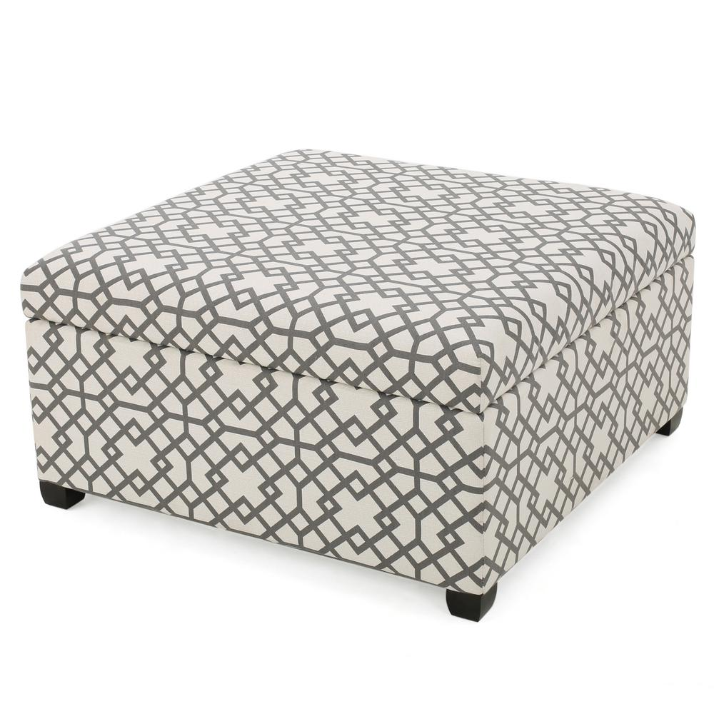 Noble House Achilles Grey Geometric Patterned Fabric Storage Ottoman