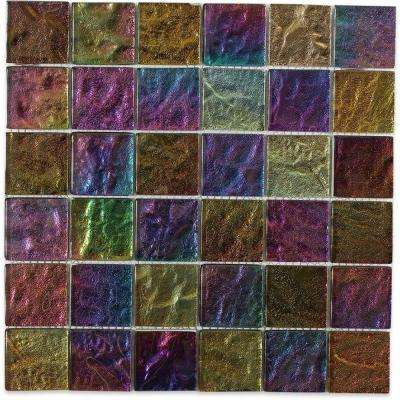 Iridescent Gold Bricks 9-3/4 in. x 13 in. x 8 mm Foil Glass Mosaic Tile