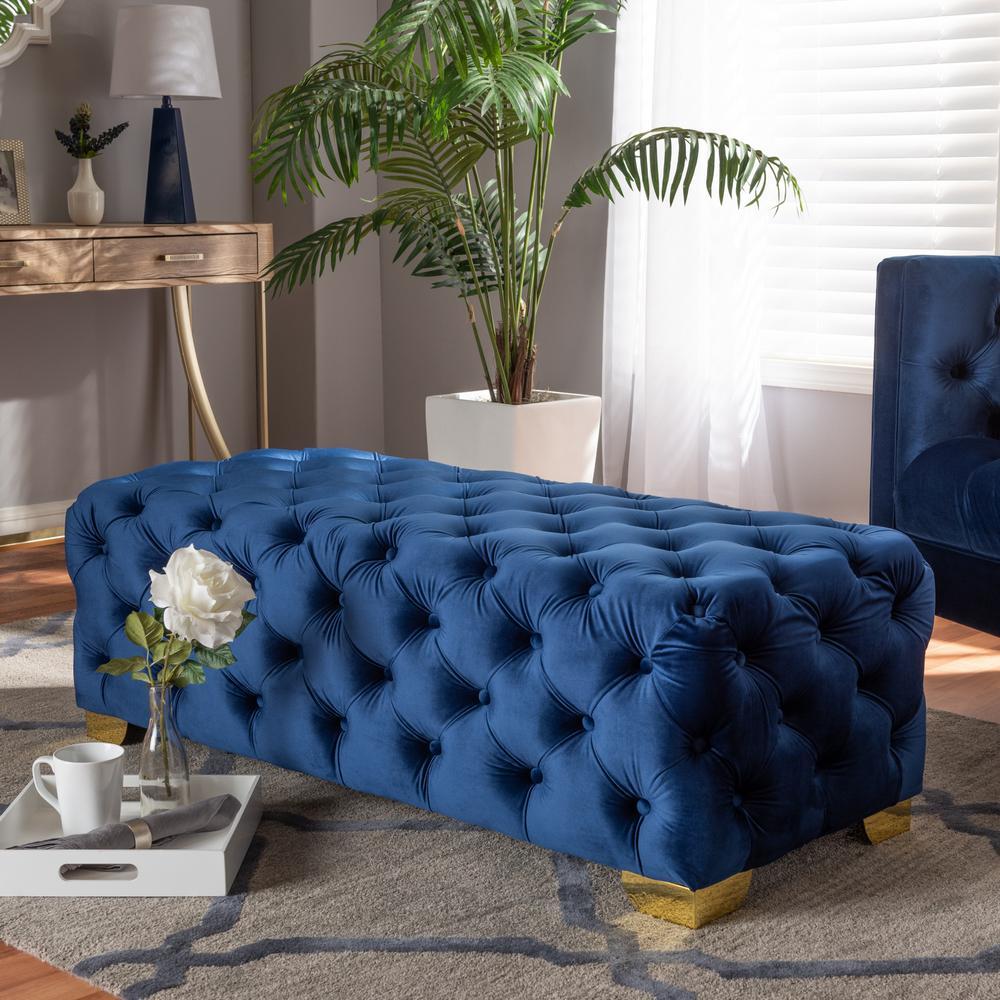 Strange Baxton Studio Avara Royal Blue And Gold Bench Ottoman 154 Onthecornerstone Fun Painted Chair Ideas Images Onthecornerstoneorg
