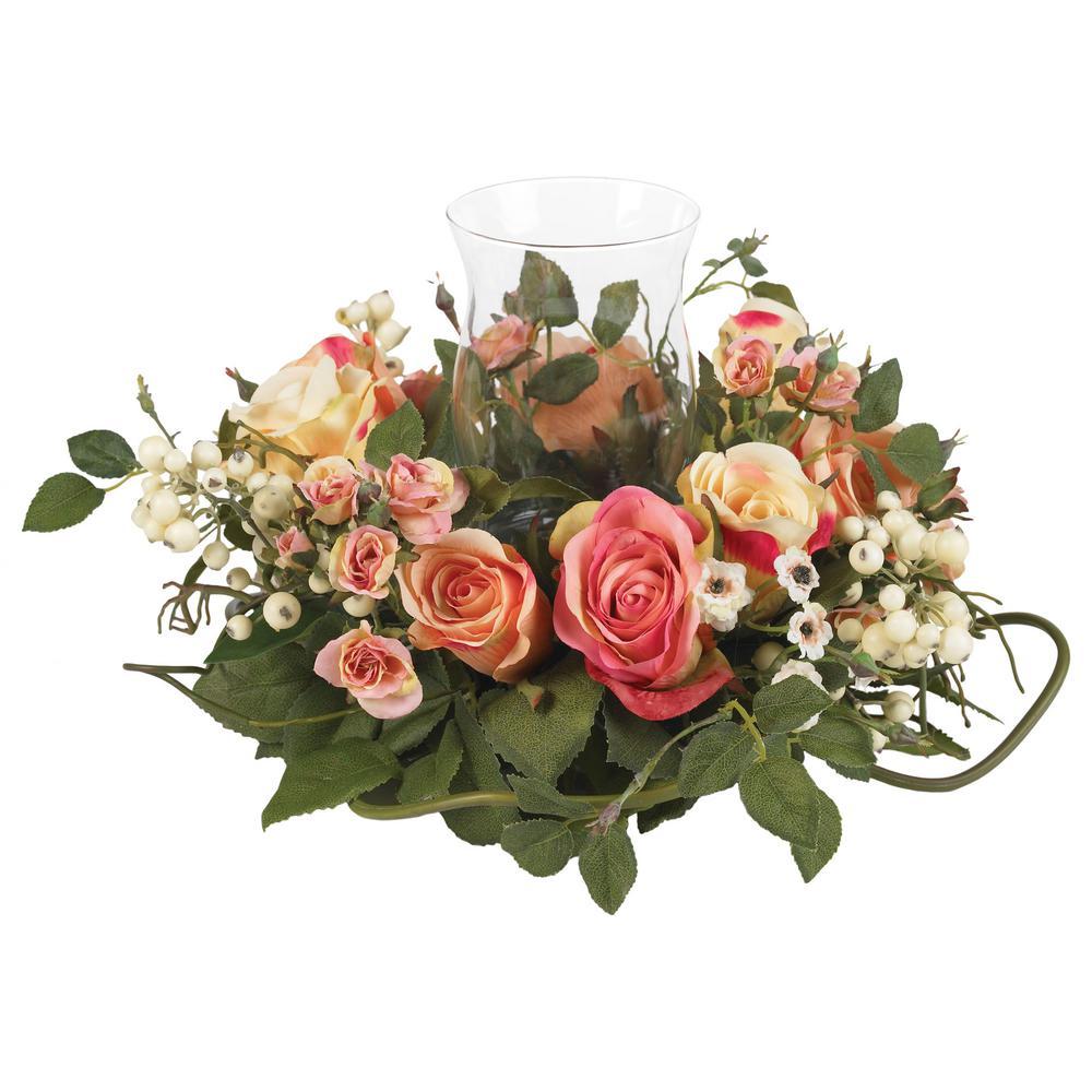 Nearly Natural 2 in. Rose Candelabrum Silk Flower Arrangement Nearly Natural 2 in. Rose Candelabrum Silk Flower Arrangement