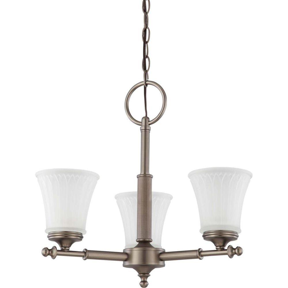 Glomar 3-Light Aged Pewter Chandelier with Frosted Etched Glass Shade