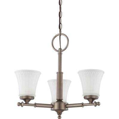 3-Light Aged Pewter Chandelier with Frosted Etched Glass Shade