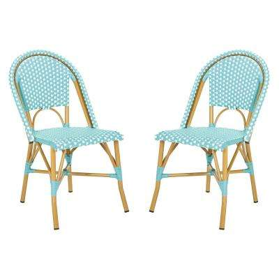 Salcha Stacking Aluminum Outdoor Dining Chair in Teal and White (Set of 2)
