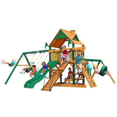 Frontier Wooden Swing Set with Timber Shield Posts, Rock Climbing Wall and Tire Swing