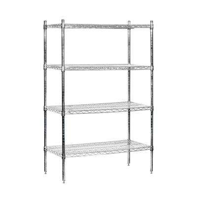 36 in. W x 63 in. H x 18 in. D Galvanized Wire Stationary Wire Shelving in Chrome