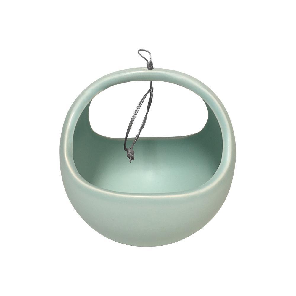 Basket 4-1/2 in. x 4-1/2 in. Mint Ceramic Hanging Planter