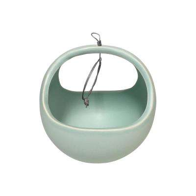 Basket 4-1/2 in. x 4-1/2 in. Mint Ceramic Hanging Planter