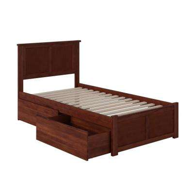Madison Twin Platform Bed with Flat Panel Foot Board and 2-Urban Bed Drawers in Walnut