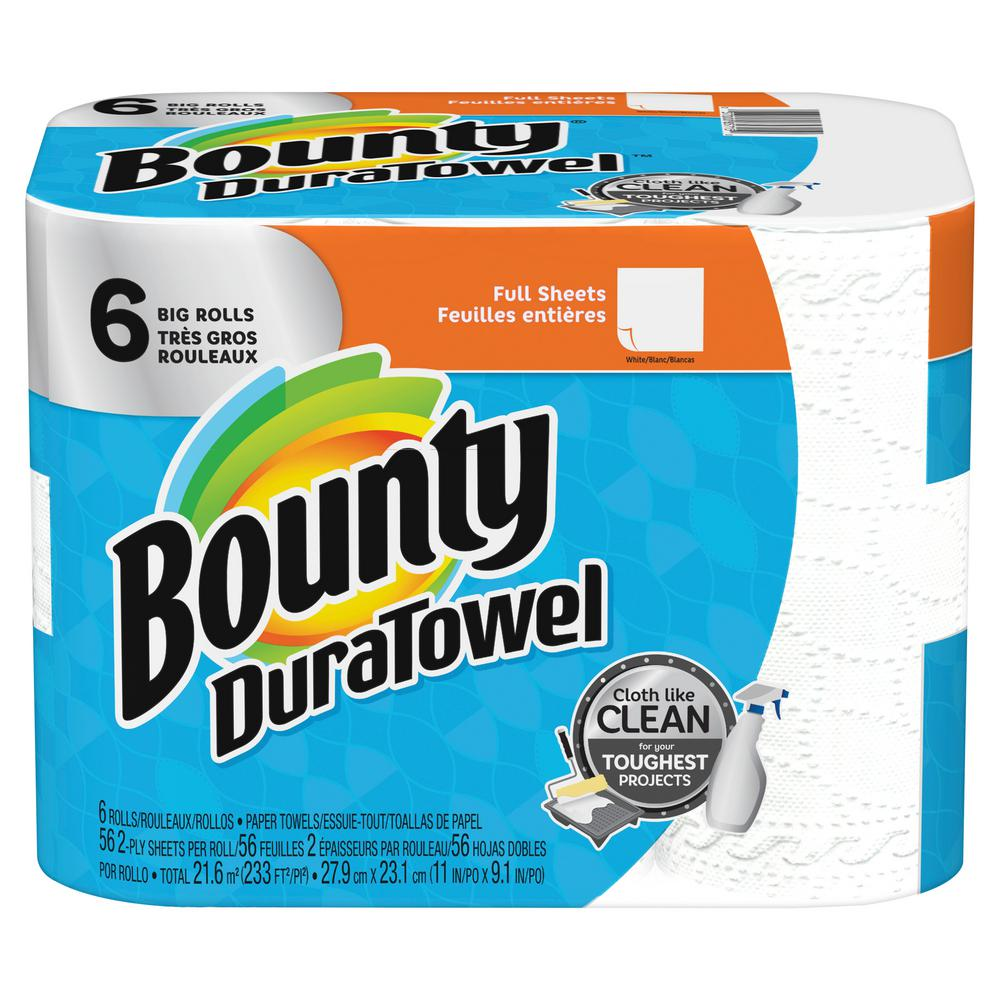 Bounty DuraTowel 2-Ply White Paper Towels (6 Big Rolls)