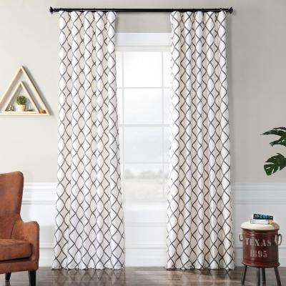 Pavillion Pearl White Flocked Faux Silk Curtain - 50 in. W x 120 in. L