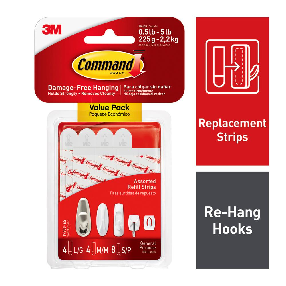 Command Small Medium And Large Assorted Refill Mounting Strip 16