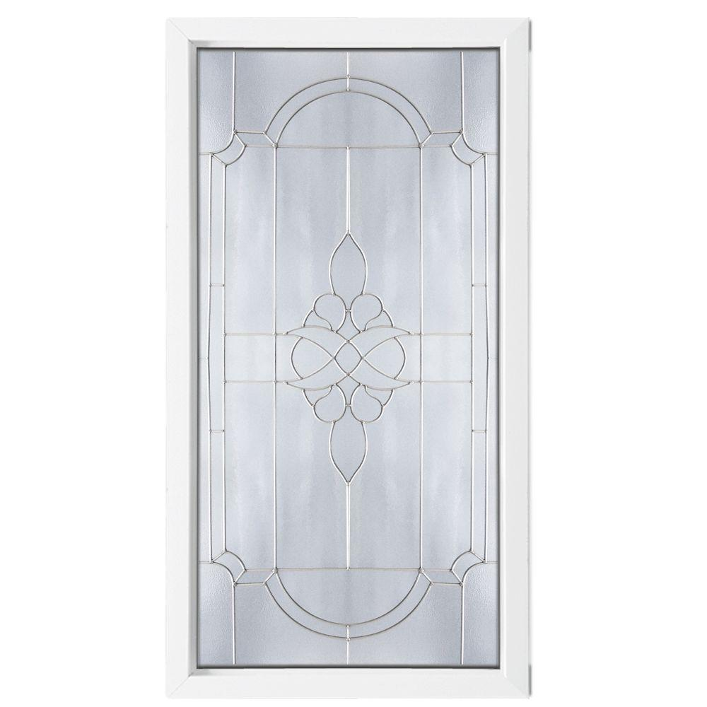 null Satin Nickel Caming Victorian PE Pattern Decorative Glass White Vinyl Fin Picture Window-DISCONTINUED