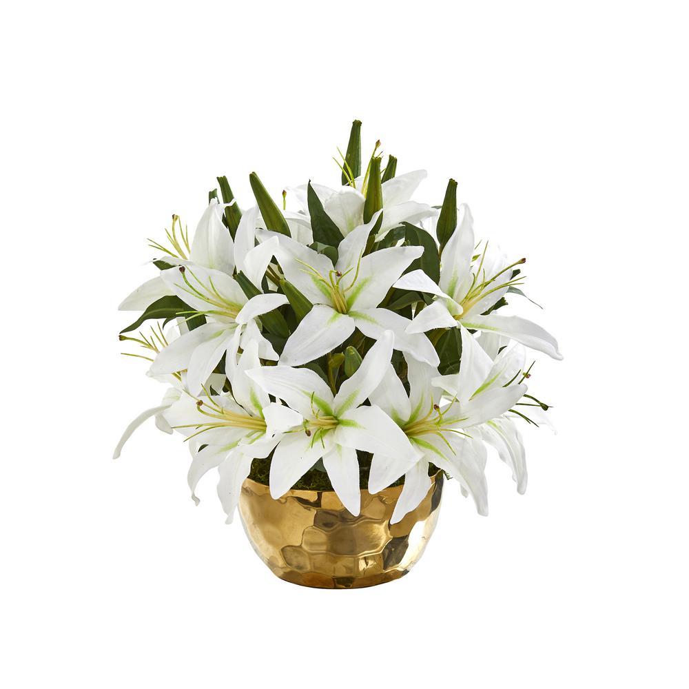 14 in. Lily Artificial Arrangement in Gold Vase