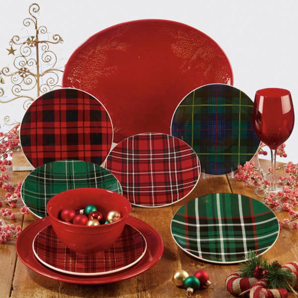 Certified International Christmas Plaid 10.75 in. Dinner Plate (Set of 6)
