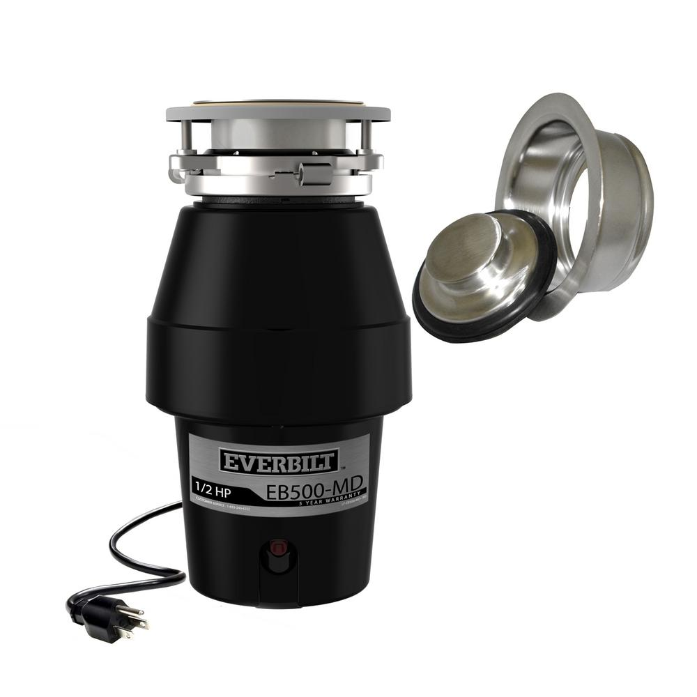 Everbilt Designer Series 1/2 HP Continuous Feed Garbage Disposal with Brushed Nickel Sink Flange and Attached Power Cord