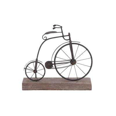 Penny-Farthing Bicycle Wood and Metal Sculpture