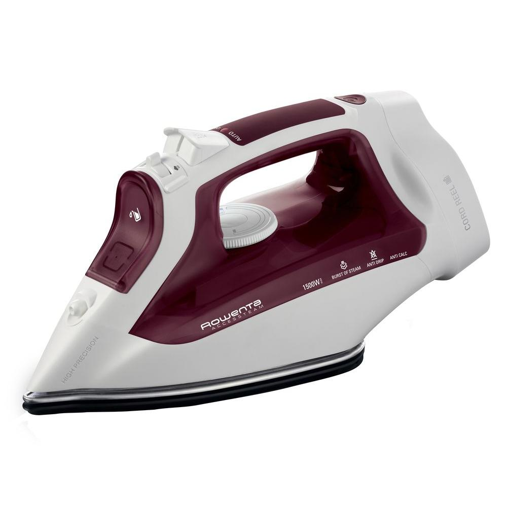 Access Steam Iron with Cord Reel, Red/White Ironing made simple. Ergonomic design makes this Rowenta iron a pleasure to use. The automatic cord reel system allows the cord length to be adjusted as needed, so it stays out of your way as you iron; the cord also completely retracts for tidy storage. Color: Red/White.