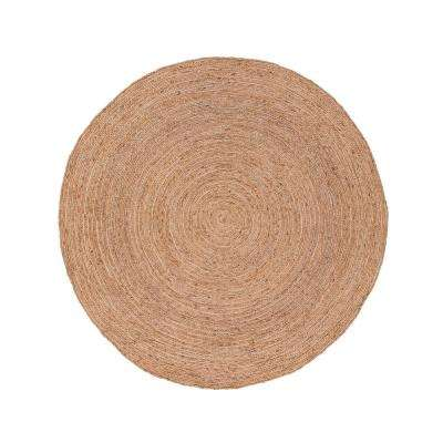 Natural Almond Buff 6 ft. x 6 ft. Solid Round Area Rug