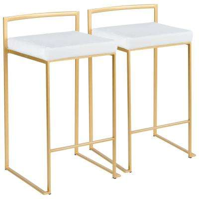 Fuji 26 in. Gold Stackable Counter Stool with White Mohair Cushion (Set of 2)