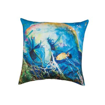 Manatee Barrier Reef Blue Geometric Down Alternative 18 in. x 18 in. Throw Pillow