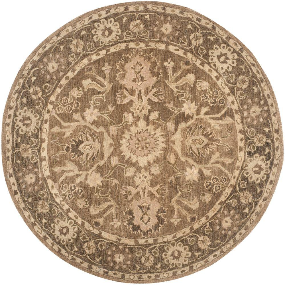 Safavieh Anatolia Grey Dark Grey 6 Ft X 6 Ft Round Area