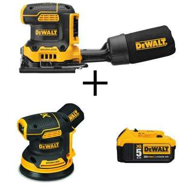 20-Volt MAX Cordless 1/4 Sheet Sander (Tool-Only) w/Bonus Bare 20V 5 in. Random Orbit Sander & 20V Li-Ion Battery 5 Ah