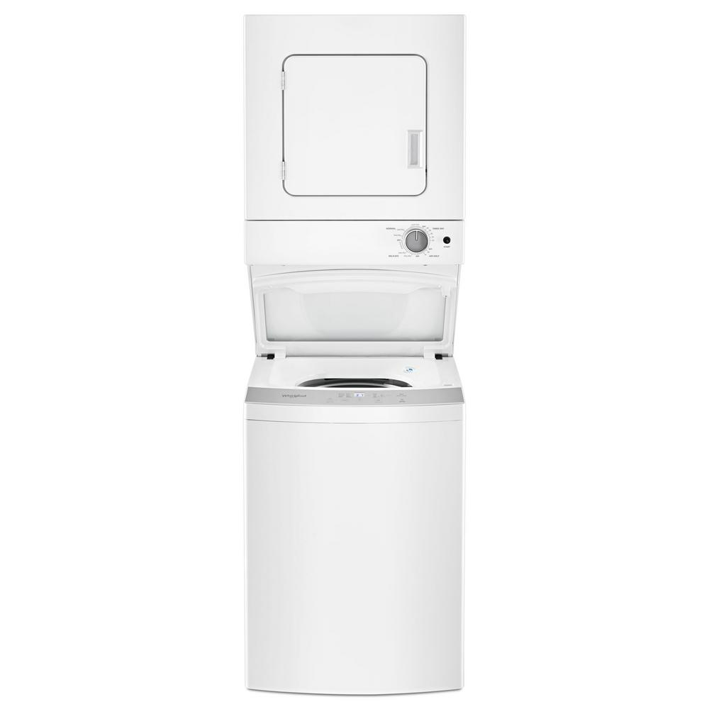 Whirlpool 1.6 cu. ft. Stacked Washer and Electric Dryer with 6 Wash Cycles and Wrinkle Shield in White Wash and dry all the essentials with a stackable washer and dryer combination that accommodates small spaces. The see-through washer lid lets you easily check on your load while it's washing and the dryer automatically senses when clothes are dry to prevent over drying. Also, help prevent wrinkles from setting in with the Wrinkle Shield option. Color: White.