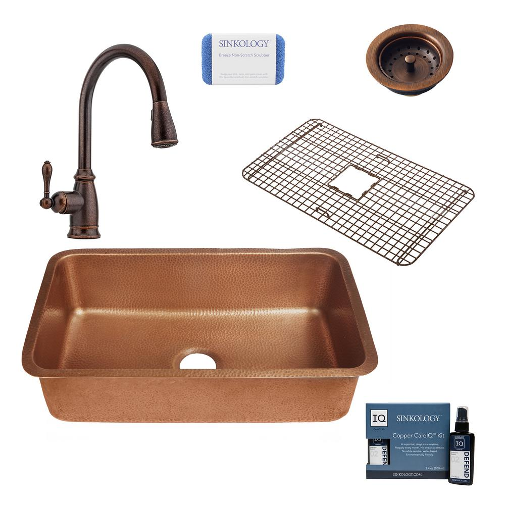 SINKOLOGY Orwell All-In-One Undermount Copper 30 in. Single Bowl Copper Kitchen Sink with Pfister Bronze Faucet and Strainer