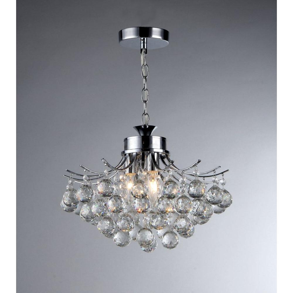 Boadicea 3 Light Crystal Chrome Chandelier