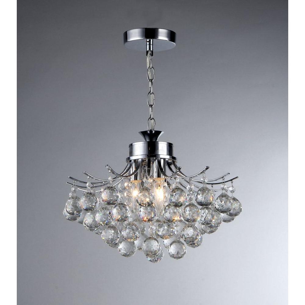 Warehouse of Tiffany Boadicea 3-Light Crystal Chrome Chandelier by Warehouse of Tiffany