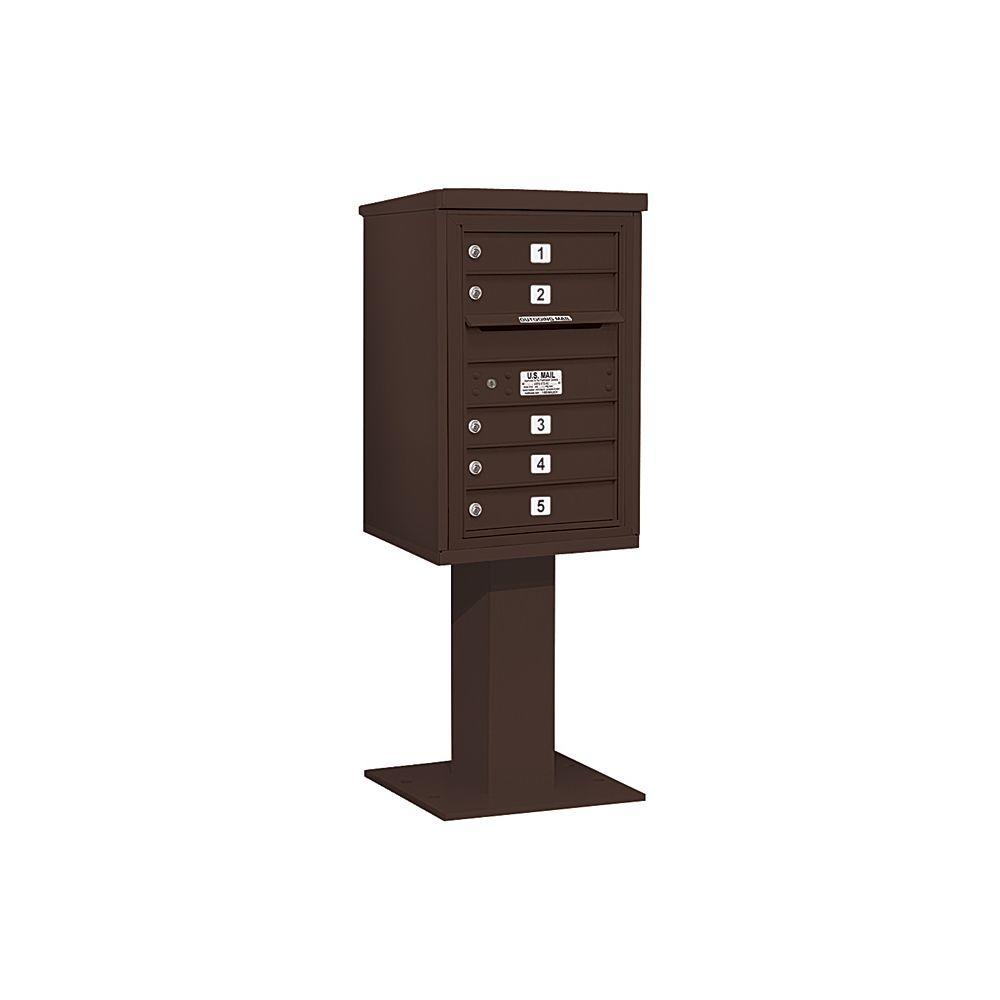Salsbury Industries 3400 Series 55-1/8 in. 7 Door High Unit Bronze 4C Pedestal Mailbox with 5 MB1 Doors