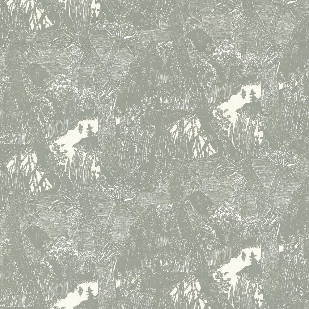 Moominvalley Dark Grey Forest Wallpaper Sample