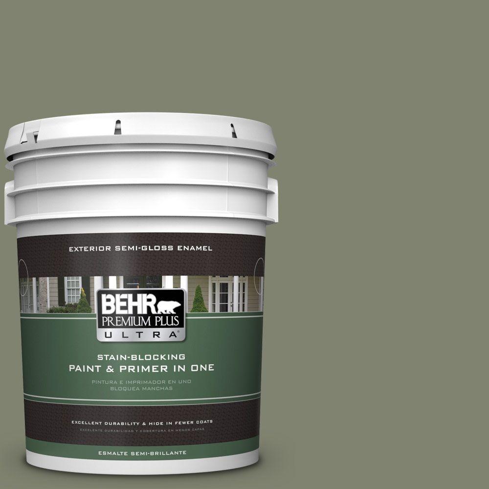 BEHR Premium Plus Ultra 5-gal. #PPU10-18 Lizard Green Semi-Gloss Enamel Exterior Paint