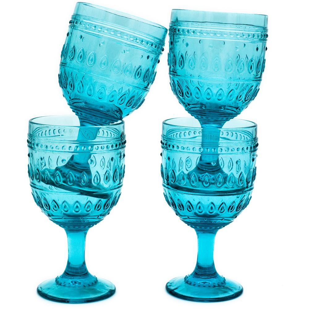 Fez 4-Piece 12 oz. Turquoise Wine Glass Set