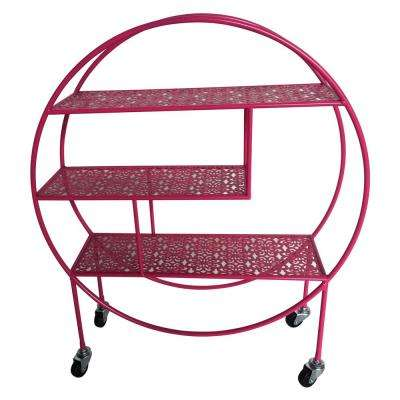7 in. x 23.25 in. Metal Storage Rack with Wheel in Pink