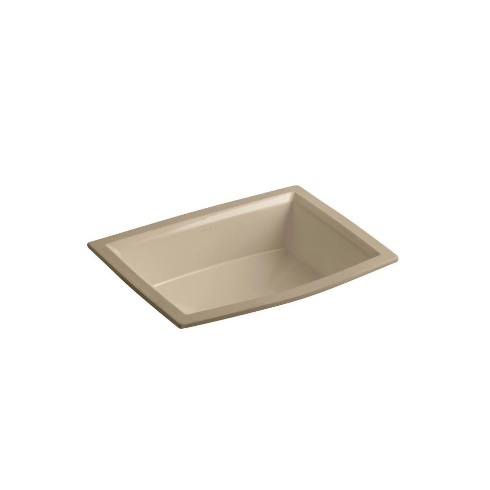 Kohler Archer Undercounter Bathroom Sink With Overflow Drain In Mexican Sand