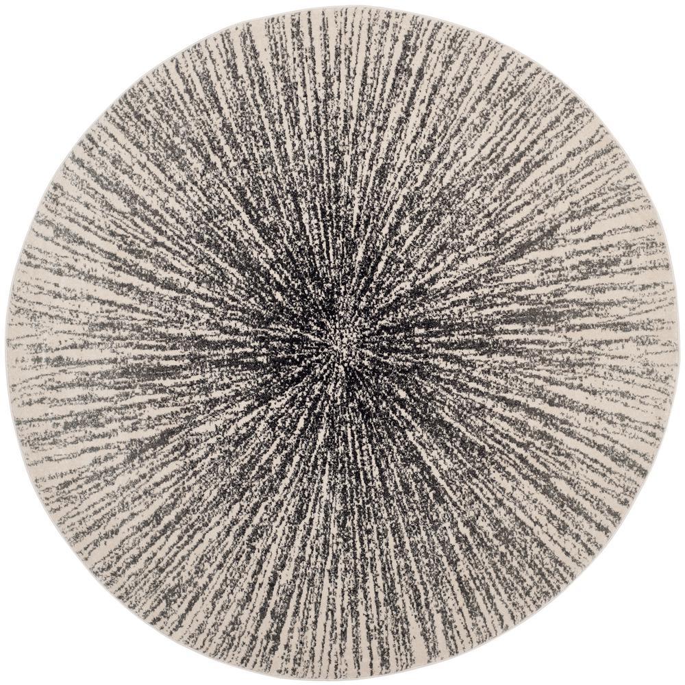 Evoke Black/Ivory 9 ft. x 9 ft. Round Area Rug