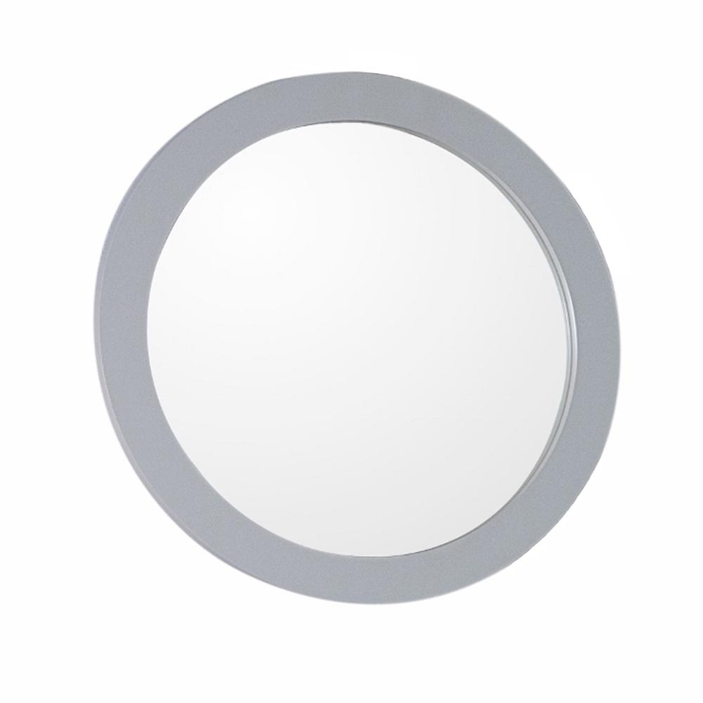 Donato 22 in. x 22 in. Light Gray Round Framed Wall