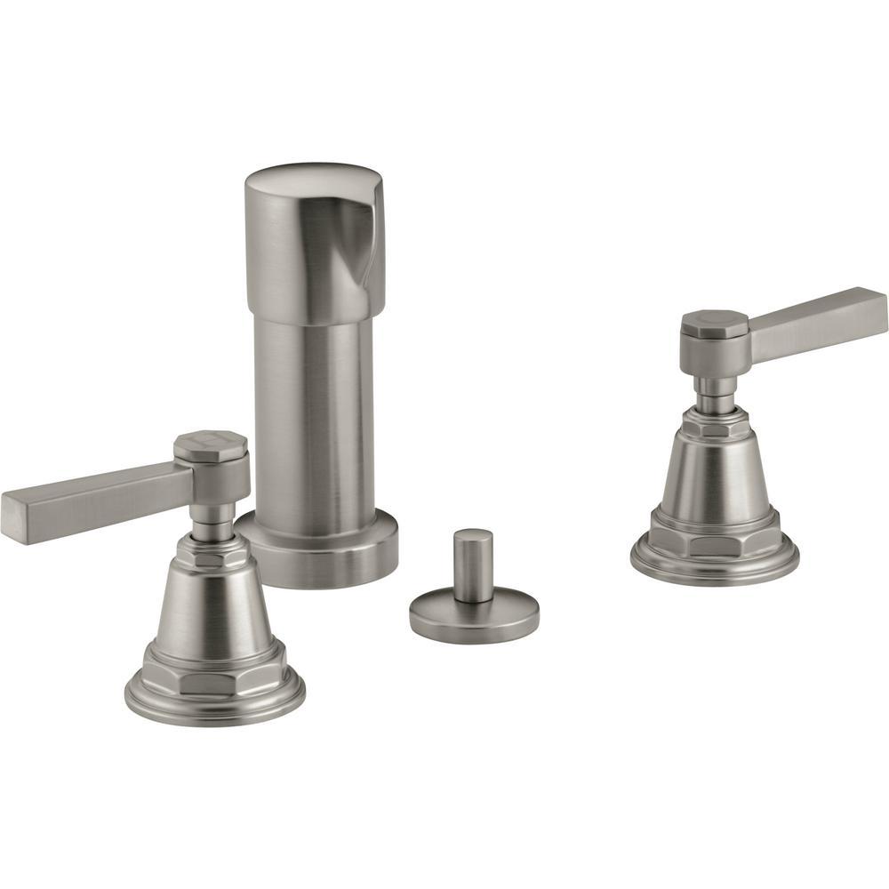 Pinstripe 2-Handle Bidet Faucet in Vibrant Brushed Nickel