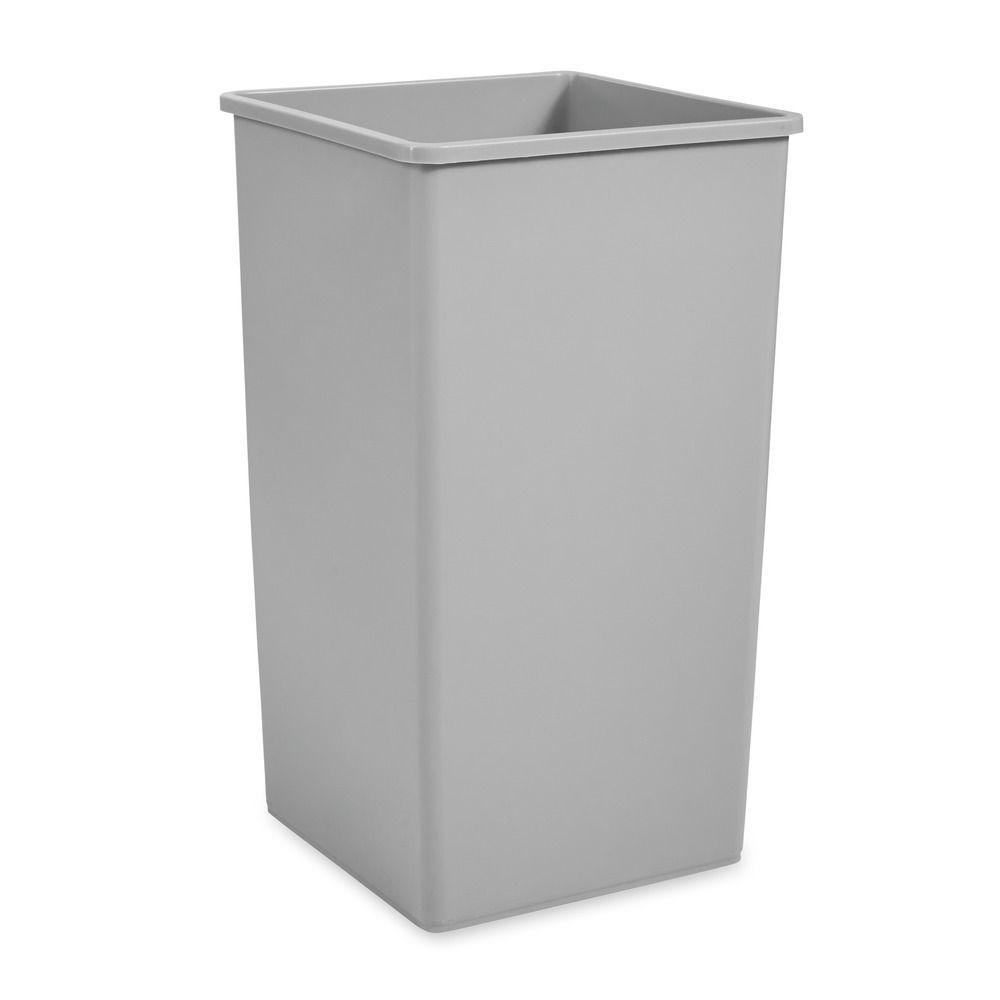 Untouchable 50 Gal. Gray Square Trash Can