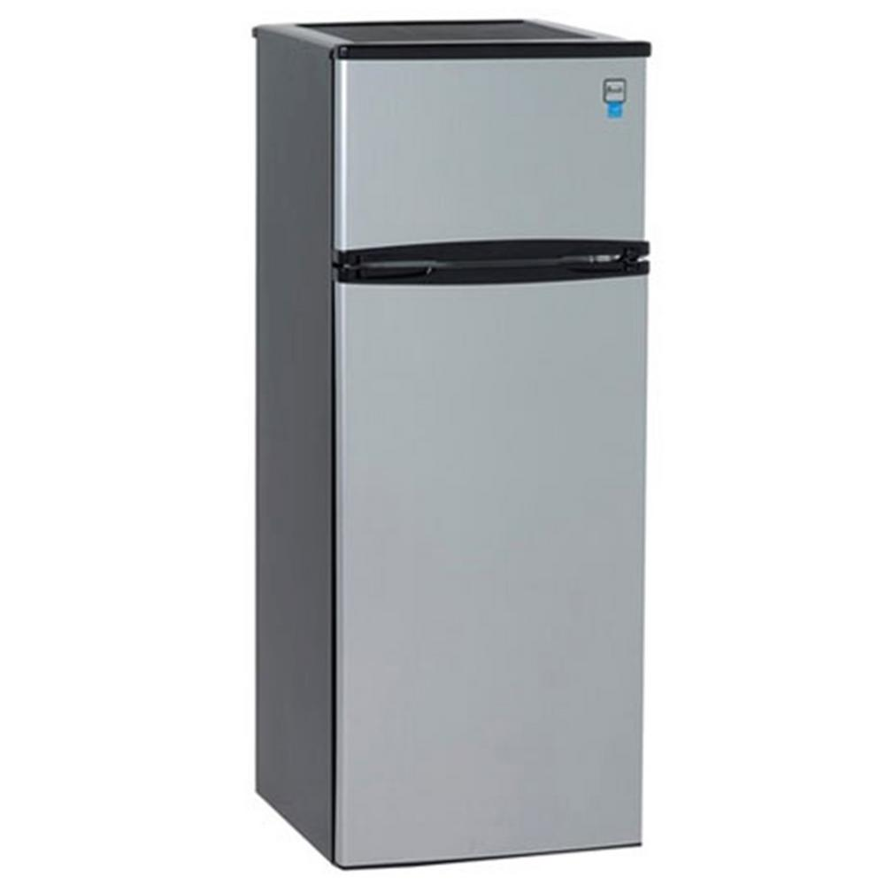 Avanti 7 4 Cu Ft Apartment Size Top Freezer Refrigerator In Black And Platinum Ra7316pst The Home Depot