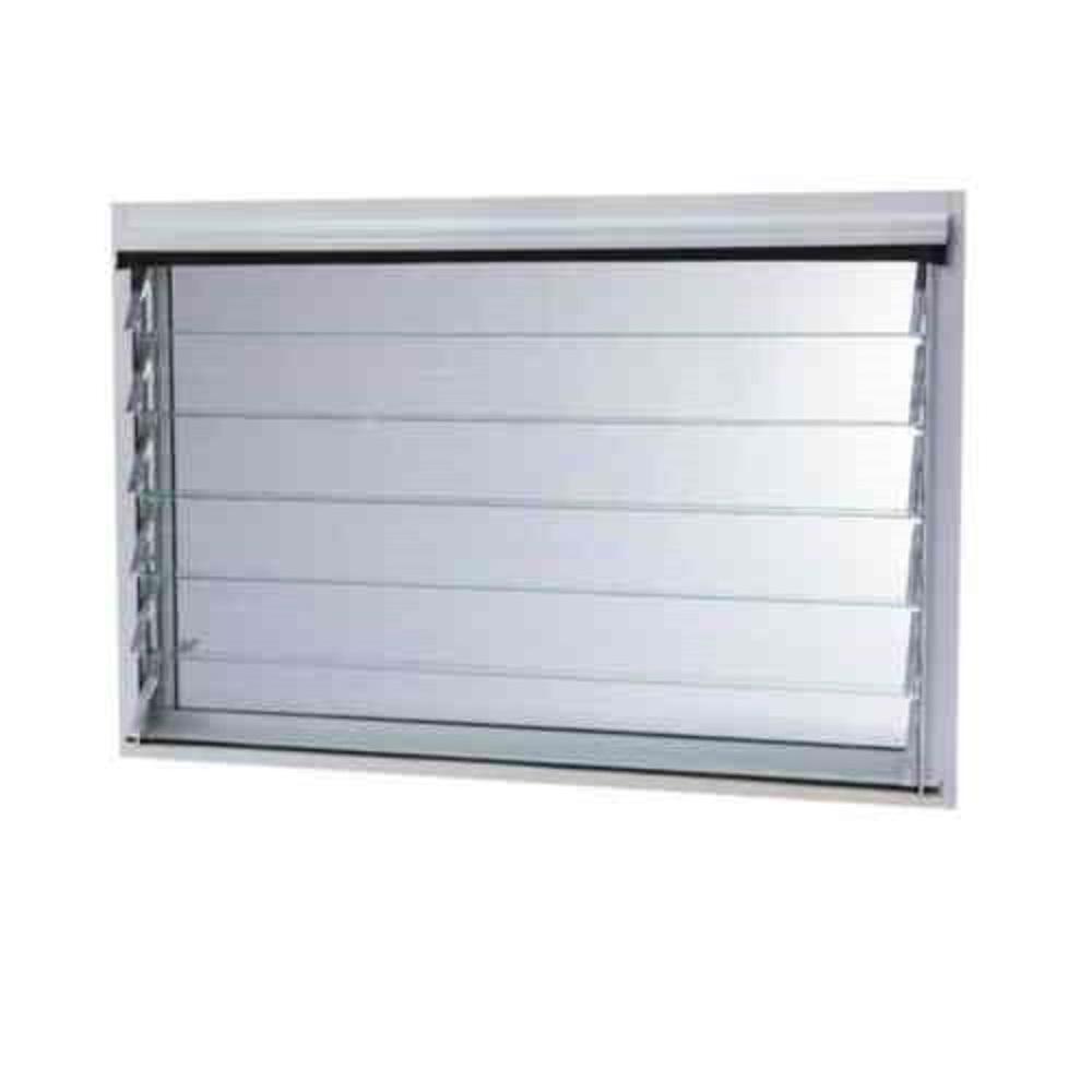Tafco Aluminum Jalousie Utility Louver Window White with Screen
