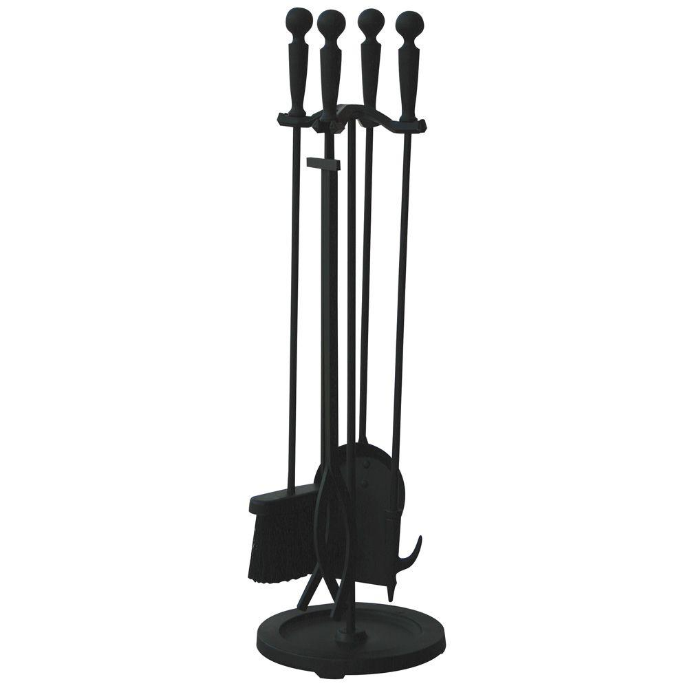 UniFlame Brushed Black 5-Piece Fireplace Tool Set with Double Rods