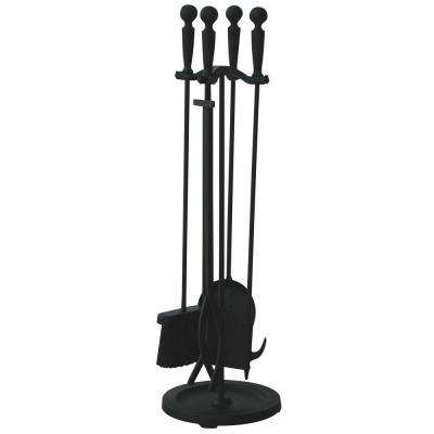 Brushed Black 5-Piece Fireplace Tool Set with Double Rods