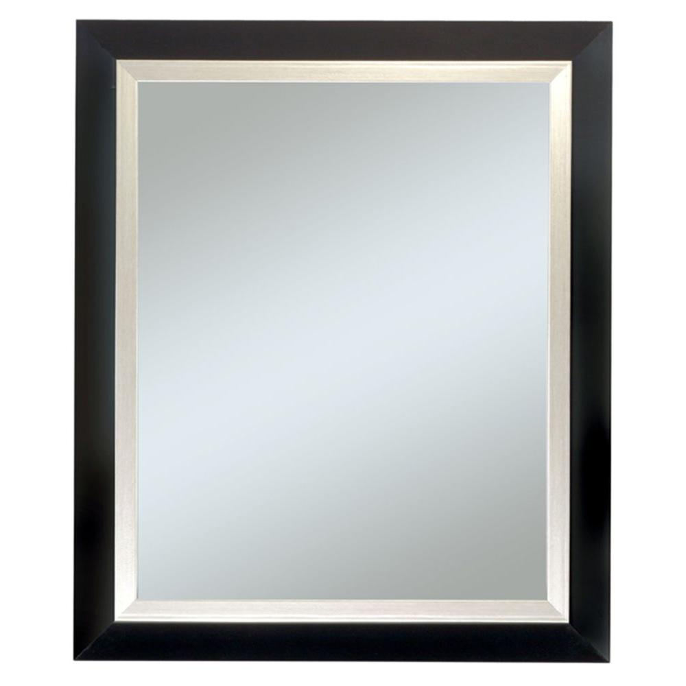 Executive Black Frame with Silver Trim Wall Mirror-4414 - The Home Depot