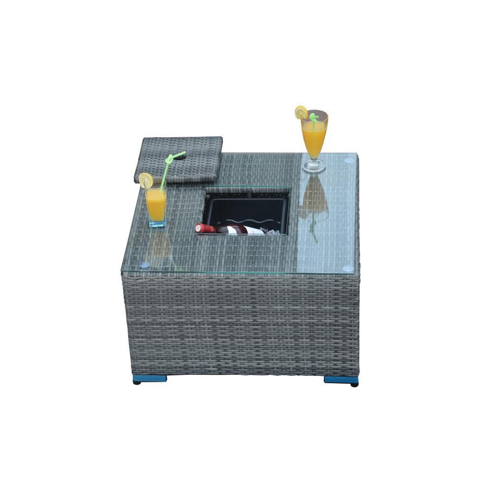 Direct Wicker La Jolla Outdoor Grey Wicker Coffee Table With Ice