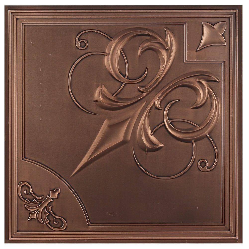Udecor Risano 2 Ft X 2 Ft Lay In Or Glue Up Ceiling Tile In Antique Bronze 40 Sq Ft Case Ct 1030 Sxgtj The Home Depot