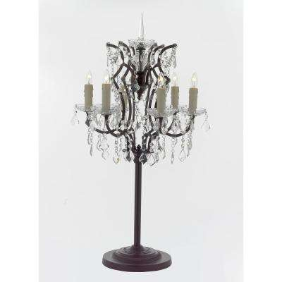 Versailles Rococo 35 in. Black 6-Light Table Lamp with Crystal